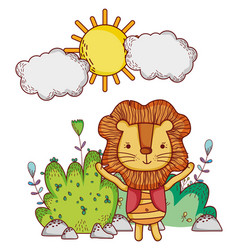 lion in the forest doodle cartoons vector image
