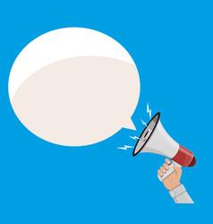 Loudspeaker or megaphone and speech balloon vector