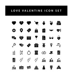 love valentine icon set with black color glyph vector image