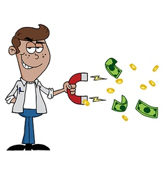 Man Collecting Cash With A Money Magnet vector image
