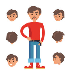 man constructor character with set six heads vector image
