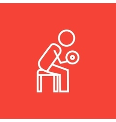 Man exercising with dumbbells line icon vector image