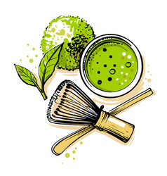 matcha tea top view on white background vector image