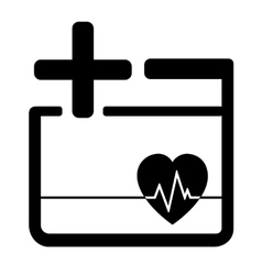 medicine icon with heart and cross vector image