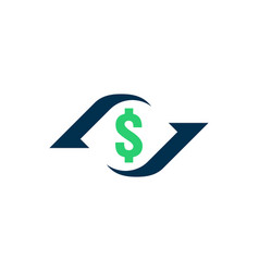 Money transfer icon chargeback contour sign quick vector