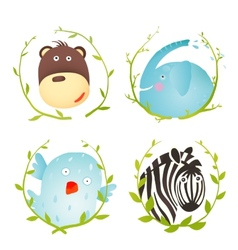 Monkey zebra elephant bird funny cartoon portraits vector