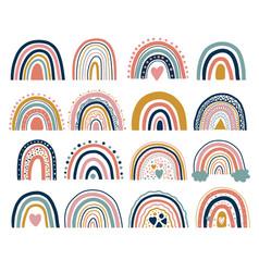 Nice neutral bohemian rainbows trend vector