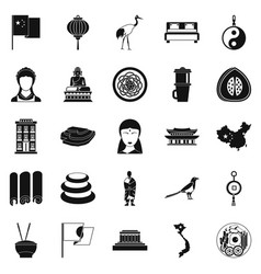 Oriental icons set simple style vector