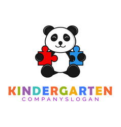Panda mascot kindergarten logo vector