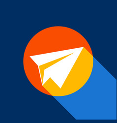 Paper airplane sign white icon on tangelo vector