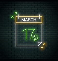 patrick day neon calendar 17 march happy neon vector image