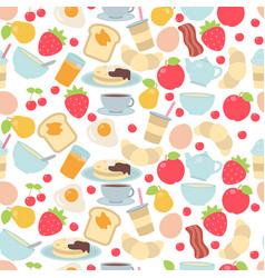 Pattern with breakfast food and beverages pattern vector