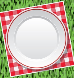 picnic tablecloth and empty plate vector image