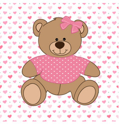Pink bear toy vector