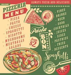 pizza menu document template vector image