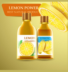 Realistic bottles with lemon juice and vitamins vector
