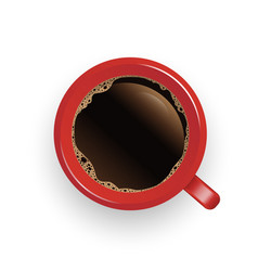 realistic top view red coffee cup and saucer vector image