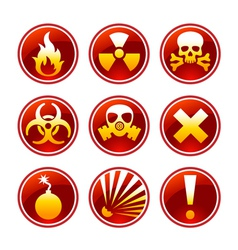 Round warning icons vector image vector image