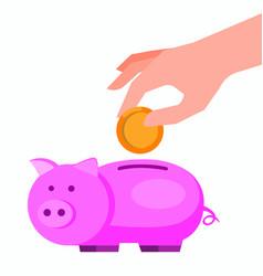 save money in piggy bank flat design vector image