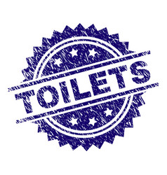 Scratched textured toilets stamp seal vector