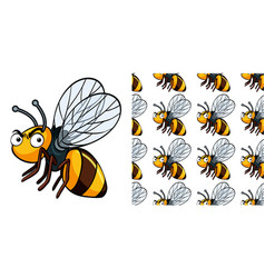 Seamless background design with angry bee vector