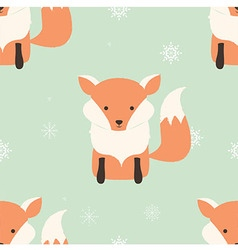 Seamless Merry Christmas pattern with cute fox vector