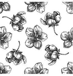 seamless pattern with black and white sakura vector image