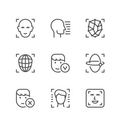 set line icons of face id vector image