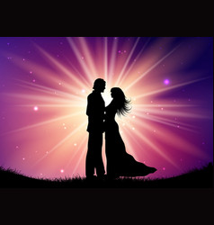 silhouette of wedding couple on starburst vector image