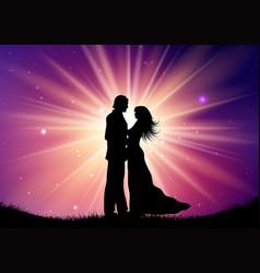 silhouette wedding couple on starburst vector image