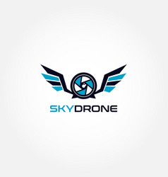 Sky drone photography logo design vector