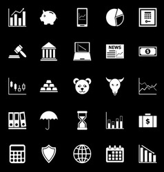 Stock market icons on black background vector image