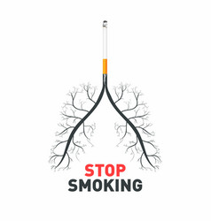 stop smoking cigarette with human lungs no vector image