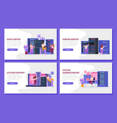 System administrator flat banners set vector