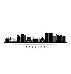 Tallinn skyline horizontal banner black and white vector