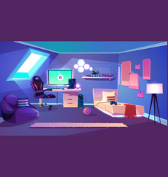 teenager room on attic cartoon interior vector image