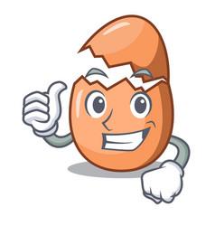 Thumbs up raw broken egg on table cartoon vector