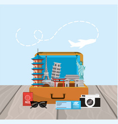 travel briefcase with journey place destination vector image