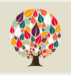 tree with seasonal leaves for ecology concept vector image