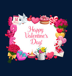 valentine day greeting love heart in flowers frame vector image