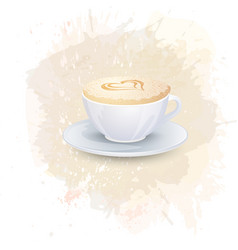 white cup with coffee drink on a abstract vector image