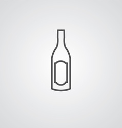 wine bottle outline symbol dark on white vector image