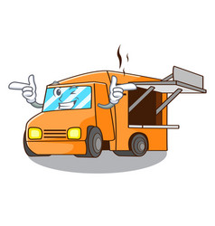 Wink food truck with isolated on mascot vector
