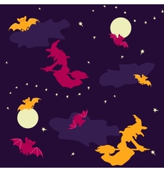 Witches and bats Halloween seamless background vector image