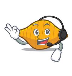 With headphone conchiglie pasta mascot cartoon vector
