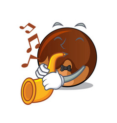 with trumpet chocolate donut mascot cartoon vector image