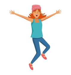 woman happy jumping cartoon vector image
