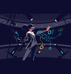 Woman in vr glasses working process vector