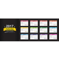 Year 2017 calendar template with space for photo vector image