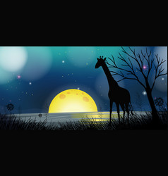 background scene with silhouette giraffe at night vector image